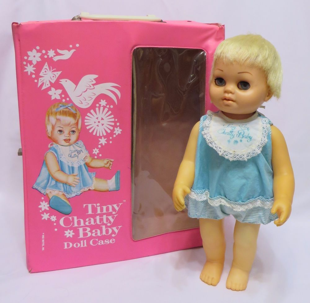 Vintage 1962 Mattel TINY CHATTY BABY & CASE - TALKS! Chatty Cathy Family #DollswithClothingAccessories