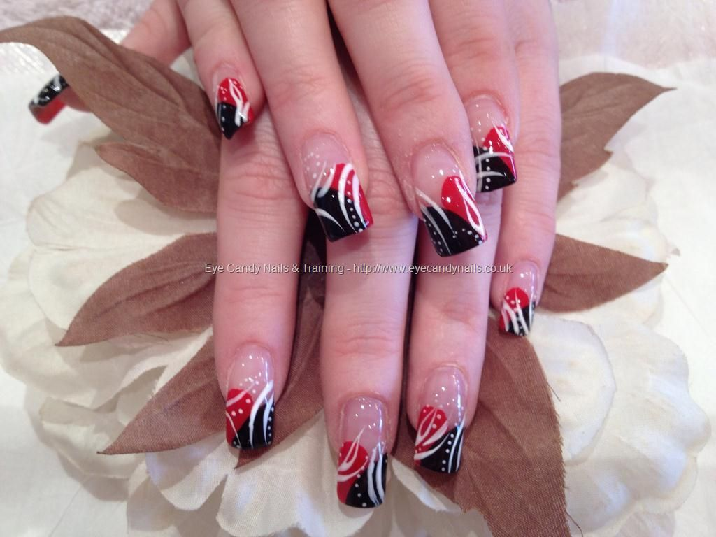 Red and black freehand nail art | Nails | Pinterest | Red nails ...