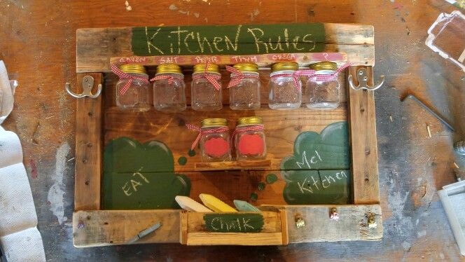 Organisation cuisine et chalkboard projet palette de bois