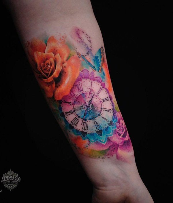 6fa7f51925e7e Watercolor watch and rose tattoo - 100 Awesome Watch Tattoo Designs <3 <3