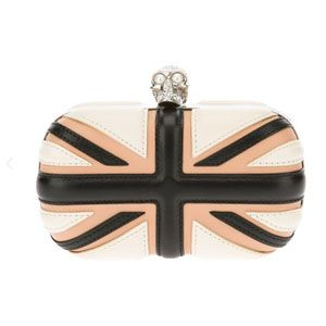 Alexander Mcqueen Britannia Box Clutch White Calf Leather
