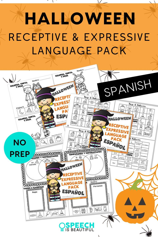 NO PREP HALLOWEEN Receptive & Expressive Language Pack (PK