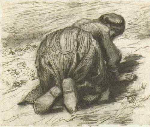 Vincent van Gogh: Peasant Woman, Kneeling, Seen from the Back Nuenen: July, 1885 (Oslo, Nasjonalgalleriet)