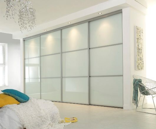Linear White Glass Made To Measure Sliding Wardrobe Doors Available