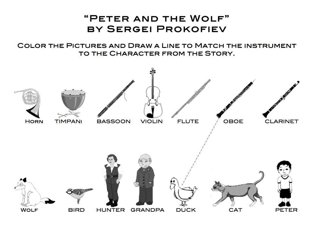 Free coloring pages instruments - Learn Me Music Peter And The Wolf Matching And Coloring Page