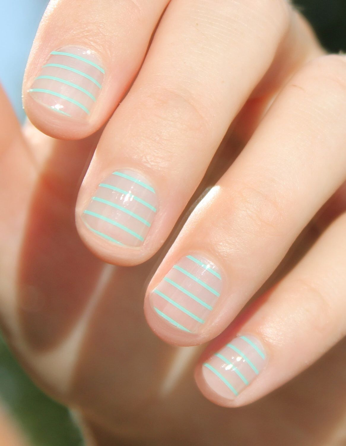 Mint Stripes Transparent Nail Wraps by SoGloss on Etsy https://www.etsy.com/listing/201658256/mint-stripes-transparent-nail-wraps