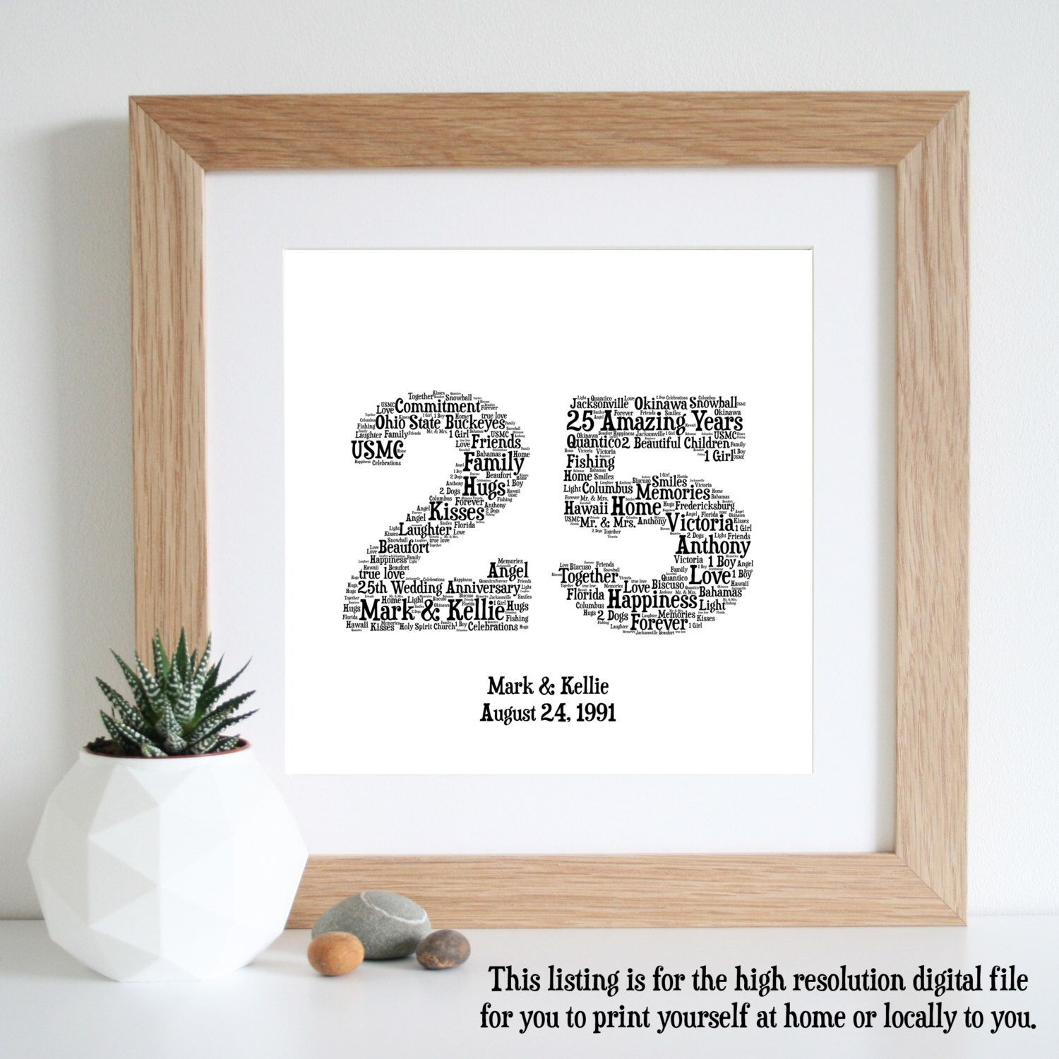 25th anniversary gift word art silver anniversary printable