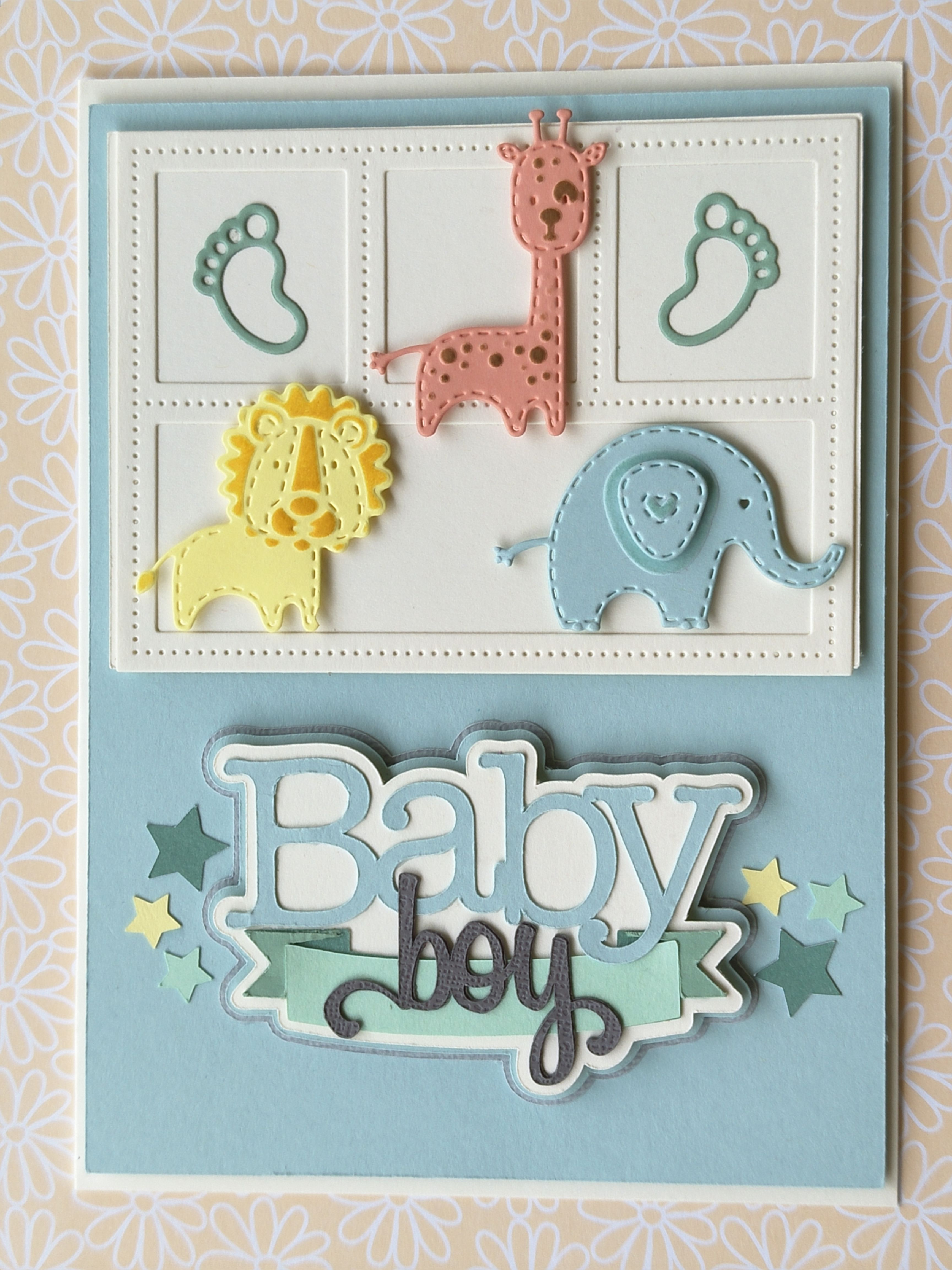 IT/'S A BOY baby title die cuts scrapbook cards