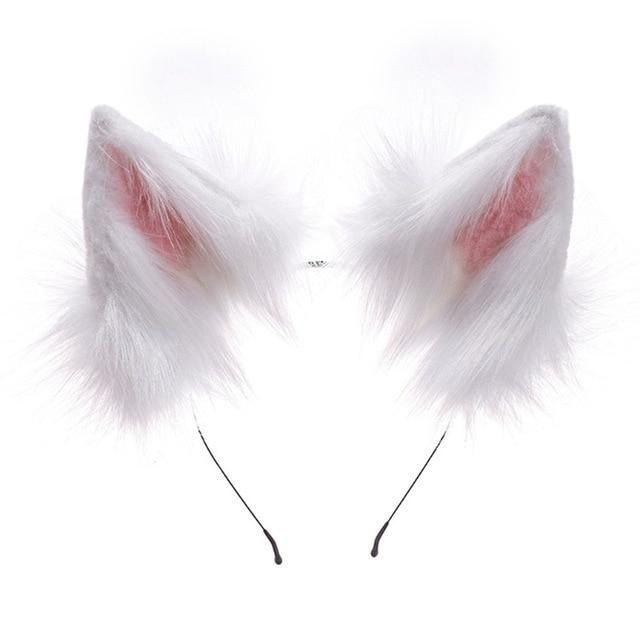 Photo of Handmade Adjustable Furry Wolf Ears Headband Simulation Fluffy Plush Animal Hair Hoop Kawaii Anime Cosplay Headpiece – A