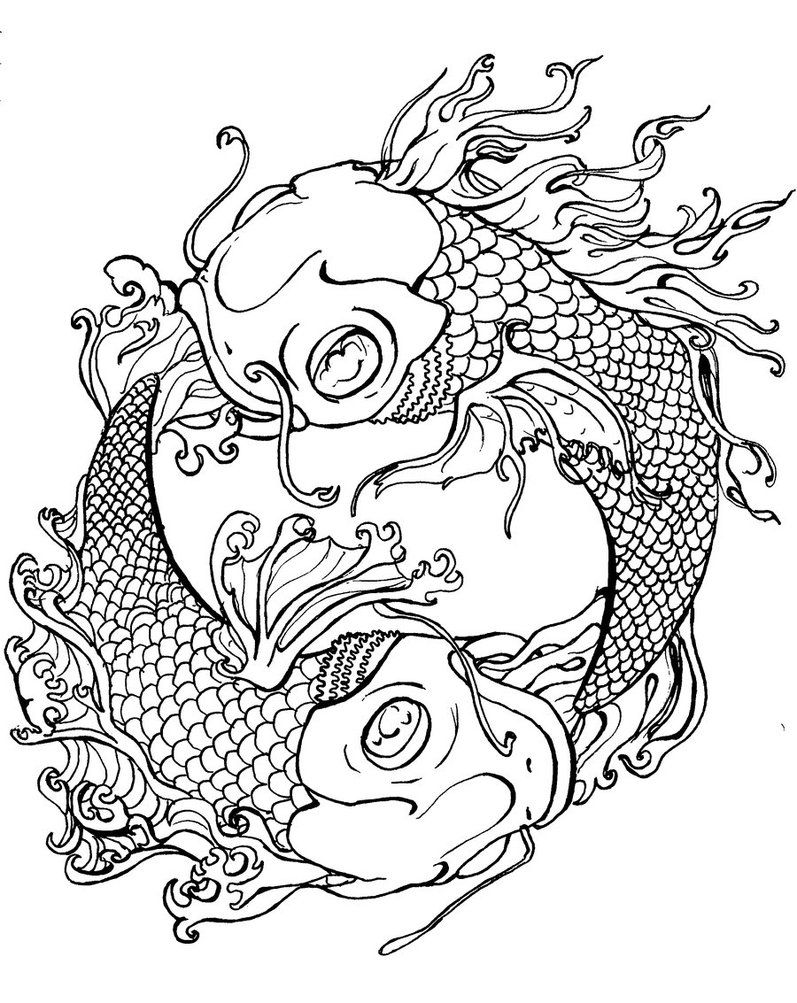 Printable Japanese Koi Coloring Pages For Preschoolers