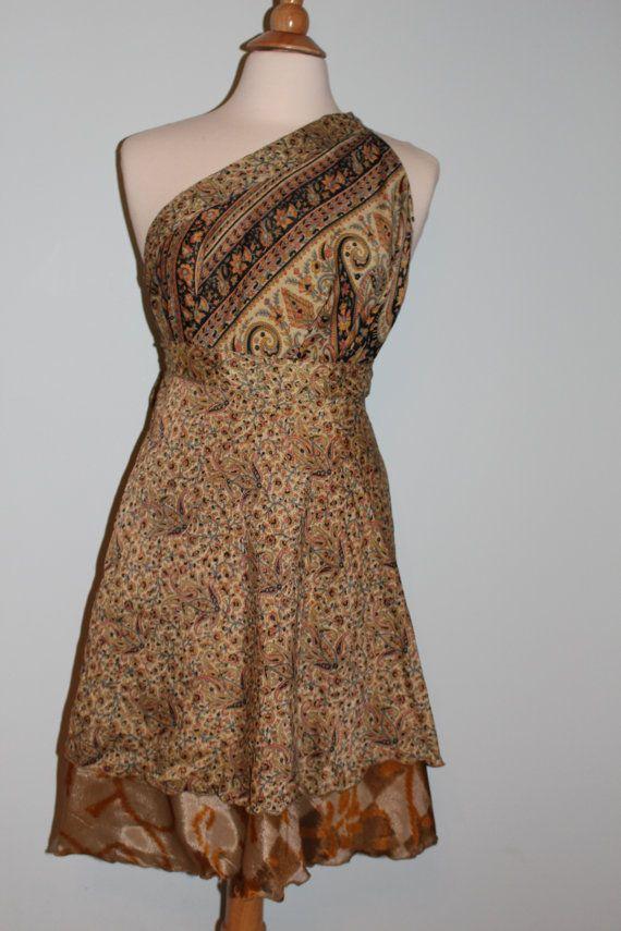 Magic Wrap Skirt, Magic Wrap Dress, Vintage Sari Silk Skirt, Ethnic Skirt, Reversible Skirt, Short Wrap Skirt, Two Layer Skirt, Sundress