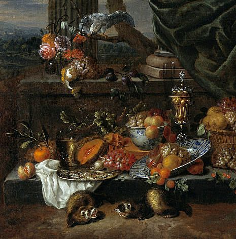 Jan Pauwel Gillemans  Still Life with Fruit, Parrot and Polecat Ferrets (detail)  17th century