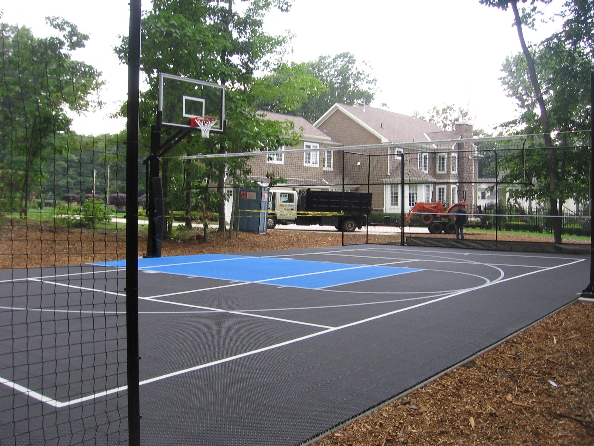 Pin By Deshayes Dream Courts On Multi Use Courts Basketball Court Backyard Indoor Tennis Backyard Basketball