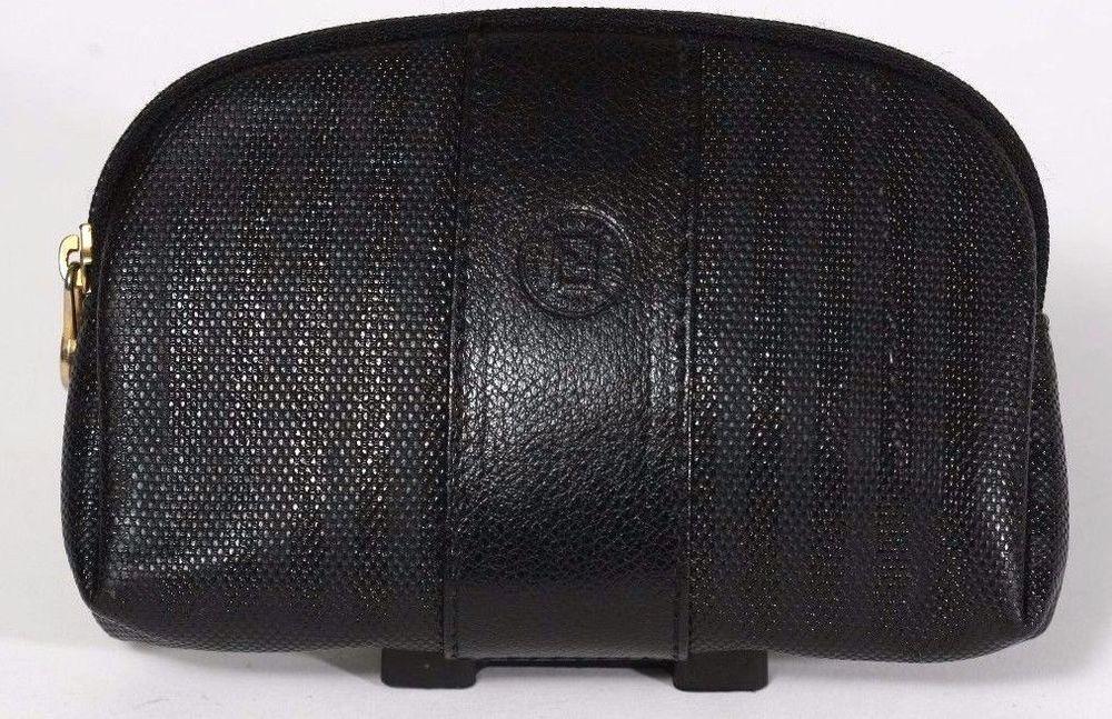 5e0fbee9e18e Vintage Fendi Black On Black Stripe Small Cosmetic Case   Bag  Fendi ...