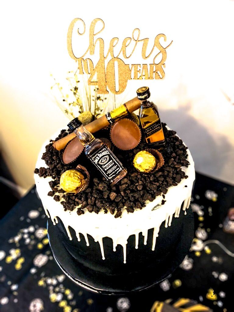 Terrific Birthday Cake For Men 40Thbirthday Jackdaniels Blacklabel Personalised Birthday Cards Paralily Jamesorg