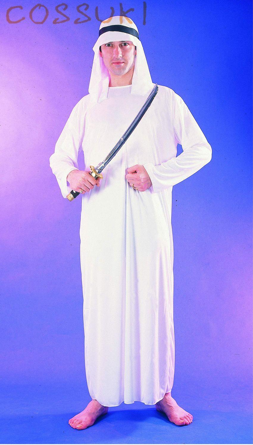 halloween exotic adult men white arab robe arabian prince cosplay