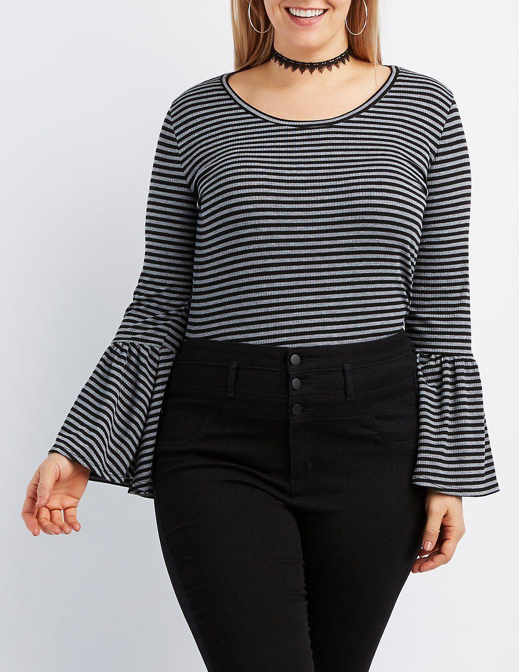 eefc4a48158 Plus Size Striped Bell Sleeve Crop Top