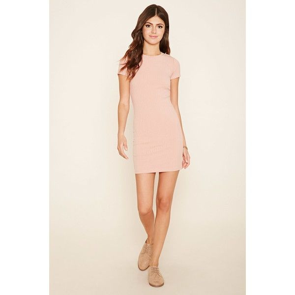 Forever 21 Women's  Cutout Back T-Shirt Dress (985 RUB) ❤ liked on Polyvore featuring dresses, forever 21, short sleeve t shirt dress, fitted dresses, cut out sleeve dress and fitted t shirt dress