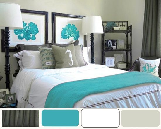 grey and turquoise bedroom ideas  Bedroom Colors