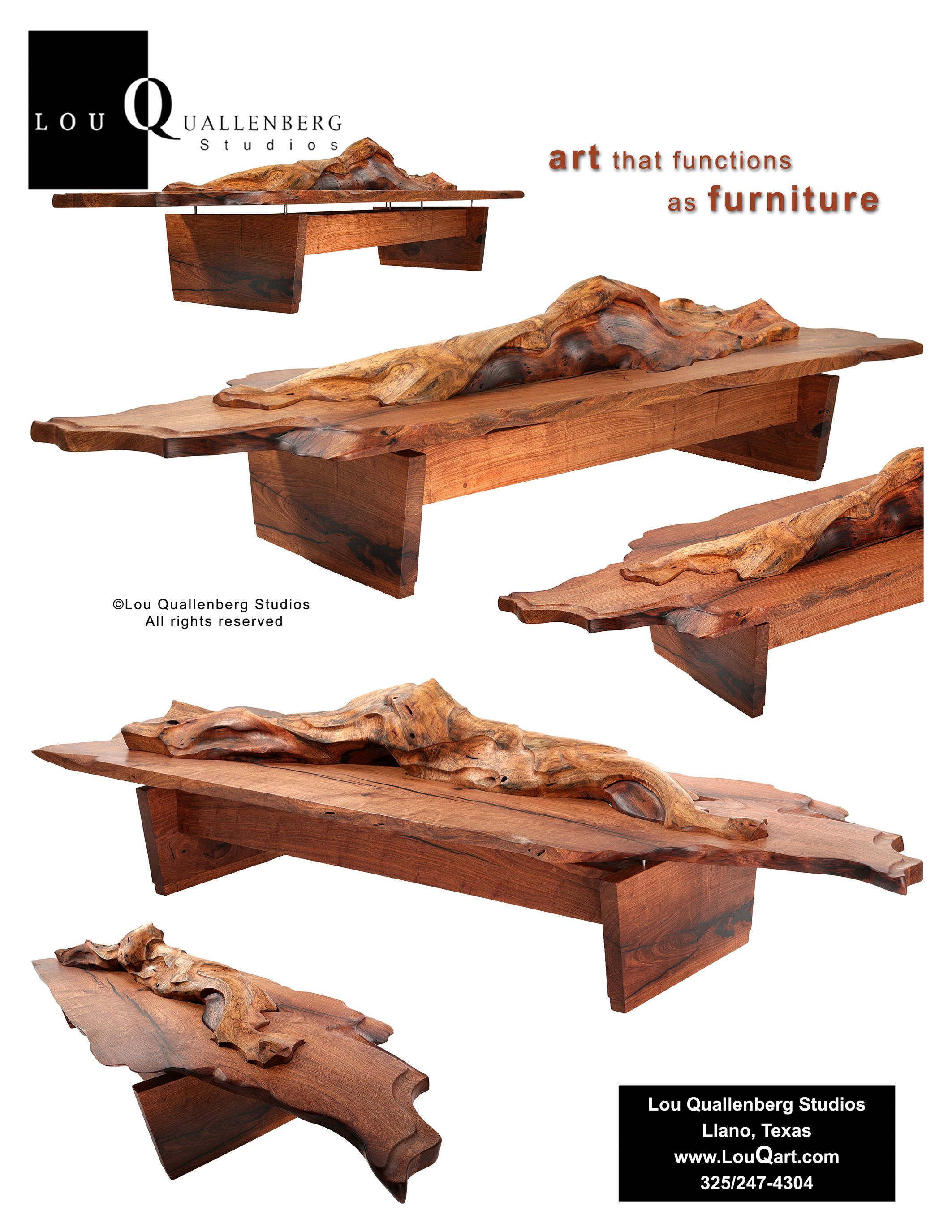 "Drift"" sculpted live edge mesquite coffee table by Lou Quallenberg"
