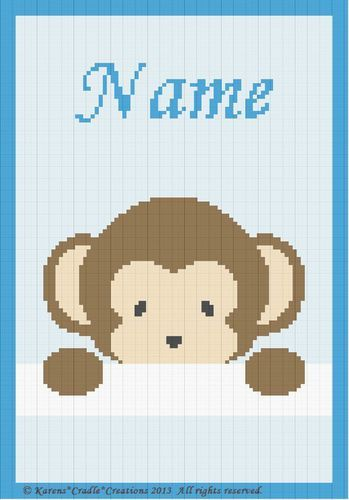 Photo of Details about Crochet Patterns – PEEK-A-BOO BABY BOY MONKEY – PERSONALIZED **BEGINNER PATTERN