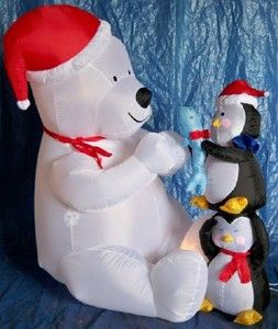 6ft Airblown Inflatable Polar Bear Receiving Gift (Sample)