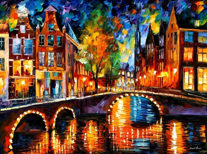 The bridges of Amsterdam - my birthplace! | Leonid Afremov | Famous