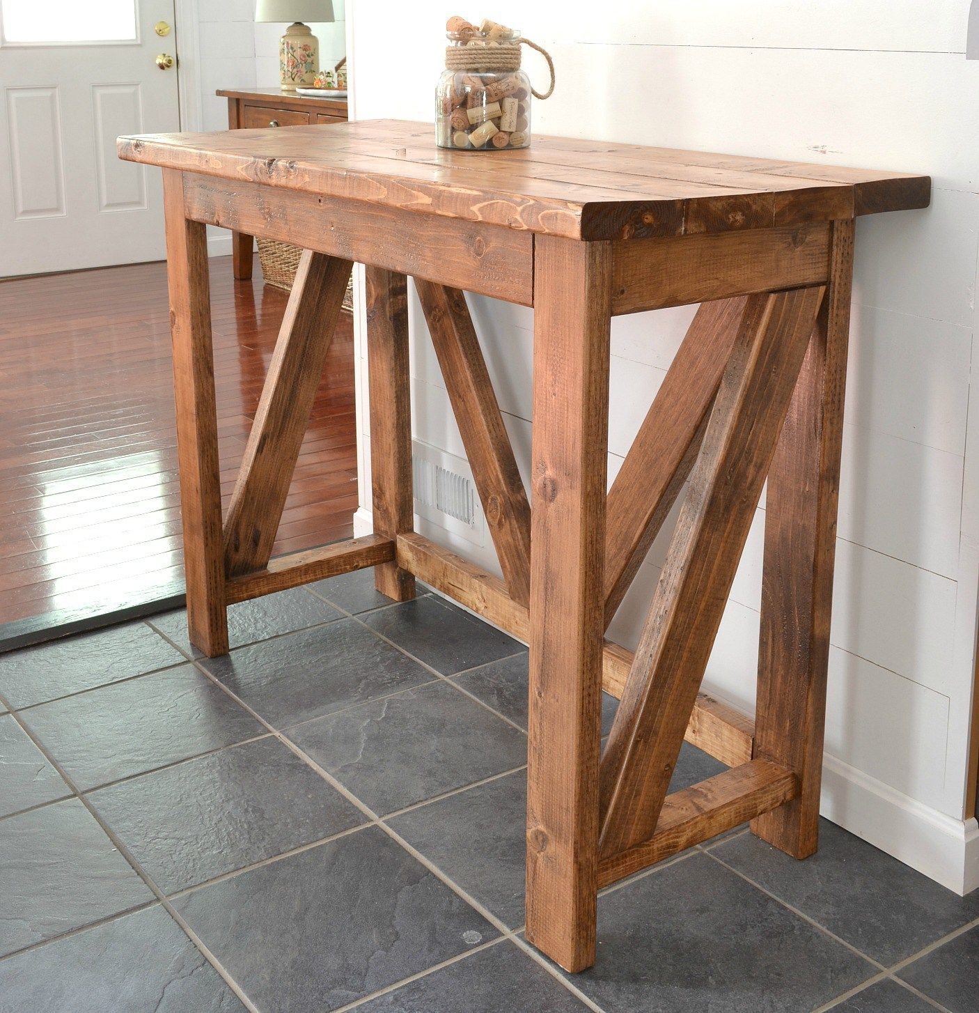 Diy Rustic Breakfast Bar That Could Also Be Used As A Stand Up Desk Or Console Table And It Only Costs 40 To Make