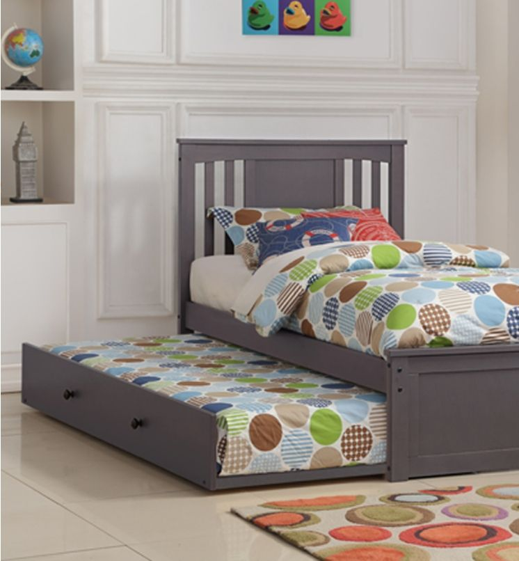 Princeton Slate Gray Solid Wood Twin Platform Bed With Trundle