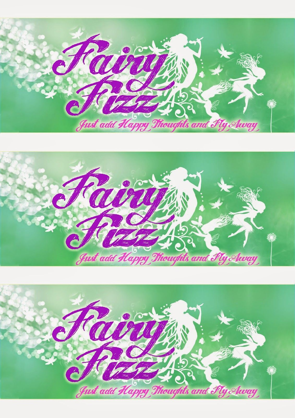 Greatfun4kids Free Printable Fairy Party Drink Bottle Labels Green And Purple