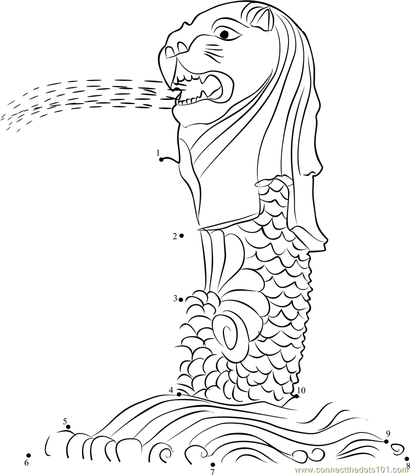 Singapore merlion coloring page akhlaq book pinterest for Merlion tattoo images