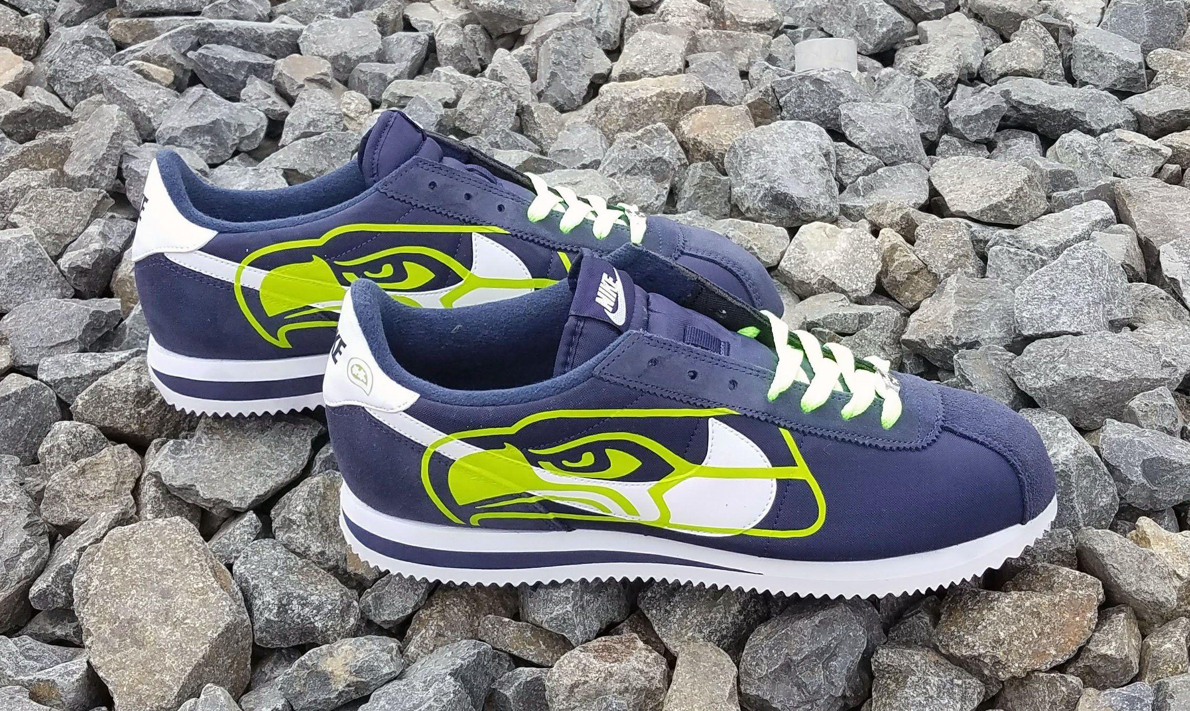 2a3b813f Bandana Fever Lime Seattle Seahawks Big Print Custom Navy/White Nike Cortez  Shoes #sneakers #airmax90 #customizedshoes #kicks #sportswear ...