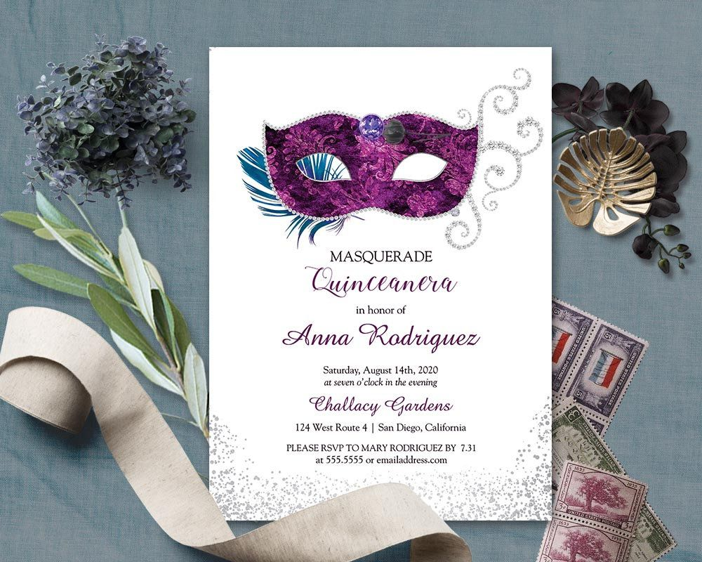 Pin By Notedoccasions Wedding Invitat On Carnaval Invitations Masquerade Invitations 16th Birthday Invitations Birthday Party Invitations