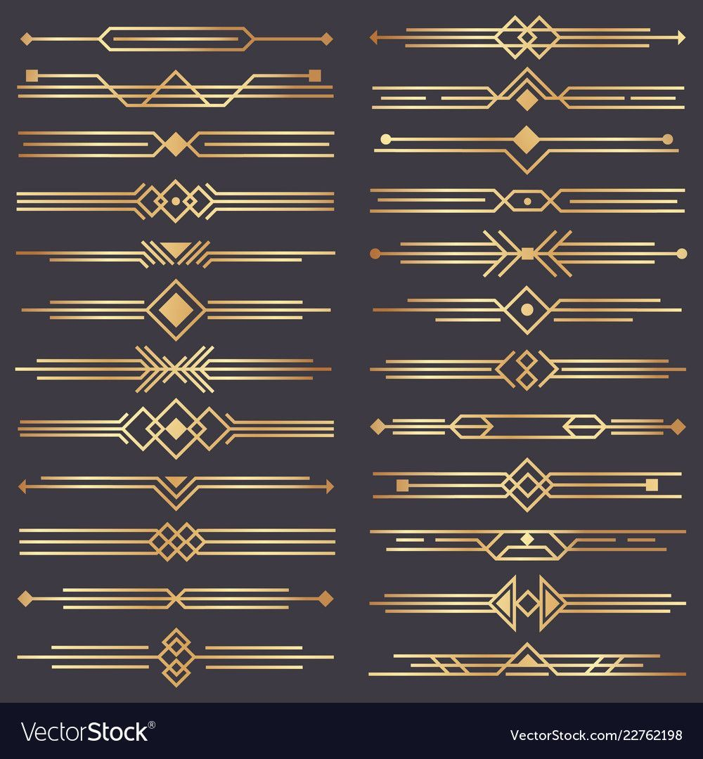 Art deco divider. Gold retro arts border, 1920s decorative ornaments and golden dividers bord...
