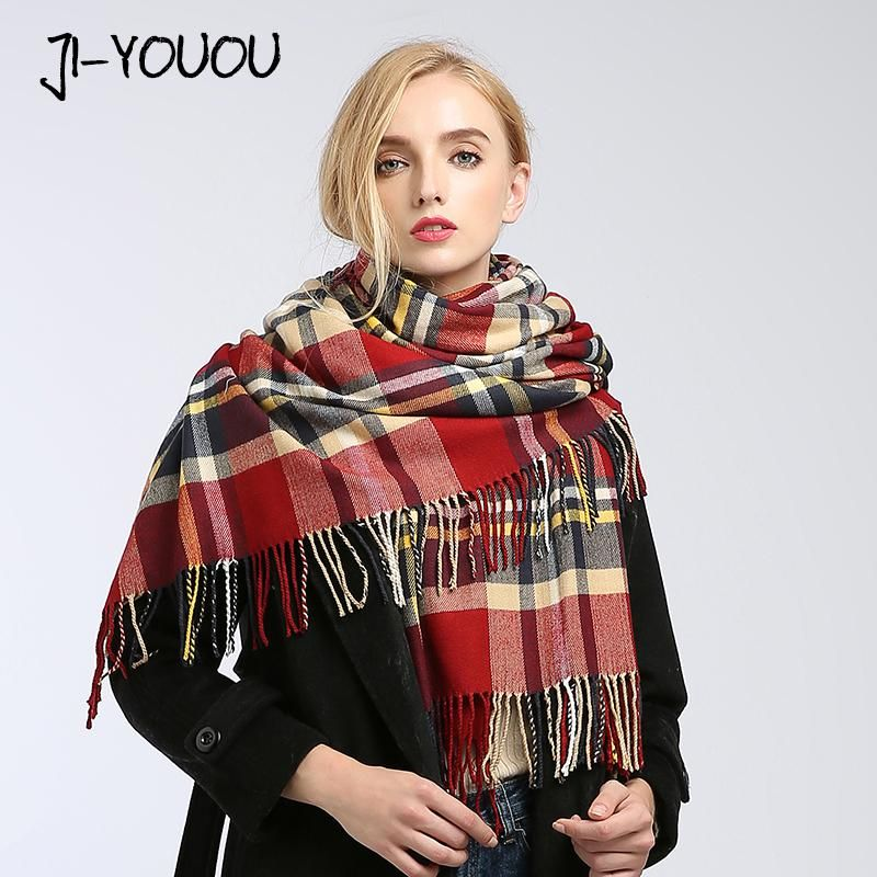 Poncho winter women s scarf scarves for women shawl stoles fur collar cloak  blanket warm knitted plaid bandana cashmere scarf. Yesterday s price  US   23.50 ... 73e2c6e840
