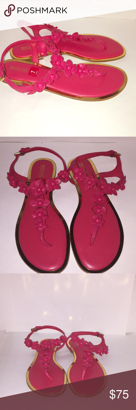 d85b6027a Michael Kors Tricia Flower Thong Sandals Deep Pink MICHAEL Michael Kors  sheep leather sandal with floral