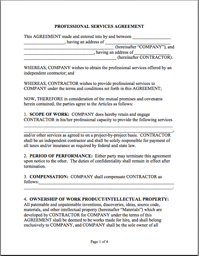 printable sample it services contract form