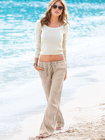 eb9f27424a The Beach Pant in Linen-Tan and American Blue | California Girl ...