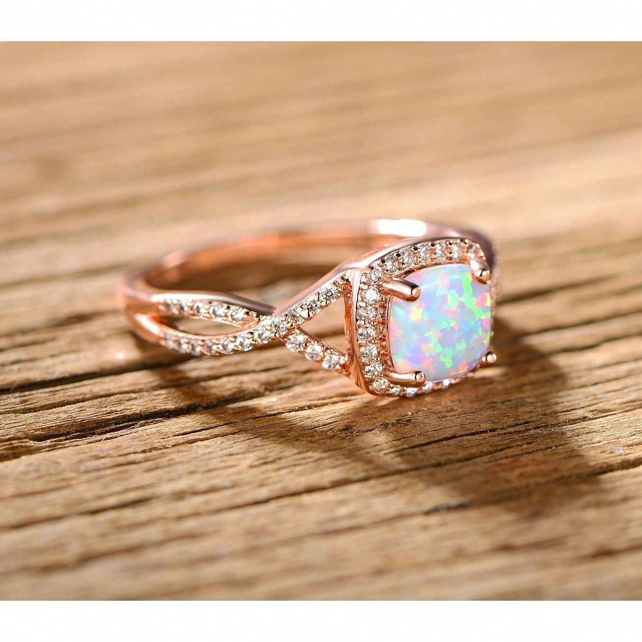 18K Rose Gold Over Sterling Silver Created White Opal 6mm Ro