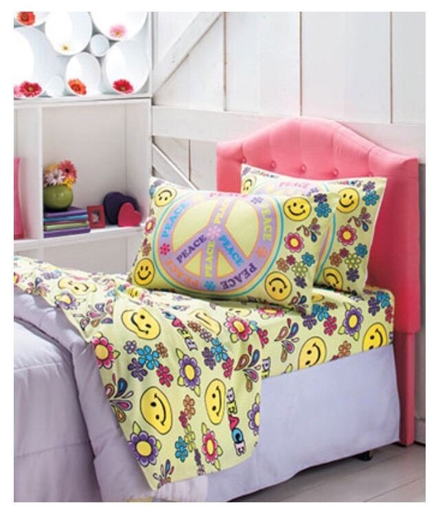 3PC PEACE SIGN TWIN BED SHEET SET FLOWER SMILEY FACE DECOR KIDS TEEN BEDROOM