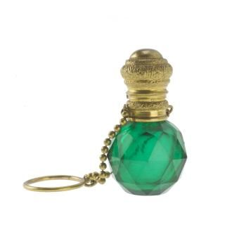 Scent bottle of clear green glass cut with triangular facets, with gilt metal mount with hinged gilt metal cover, and gilt metal ring on a chain of beads attached to the mount, part of the Ida Pappenheim Collection: Bohemian, c. 1850