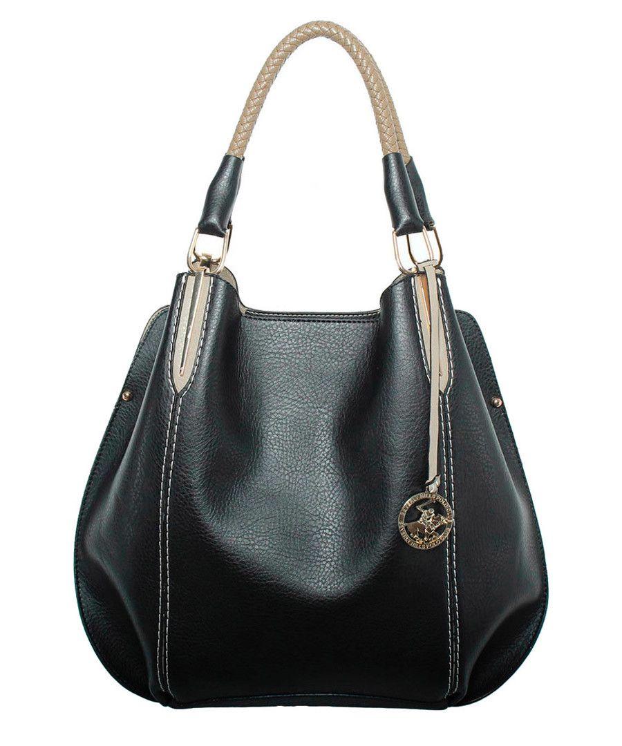 341f1bfab114 Black   beige slouch shoulder bag Sale - Beverly Hills Polo Club ...