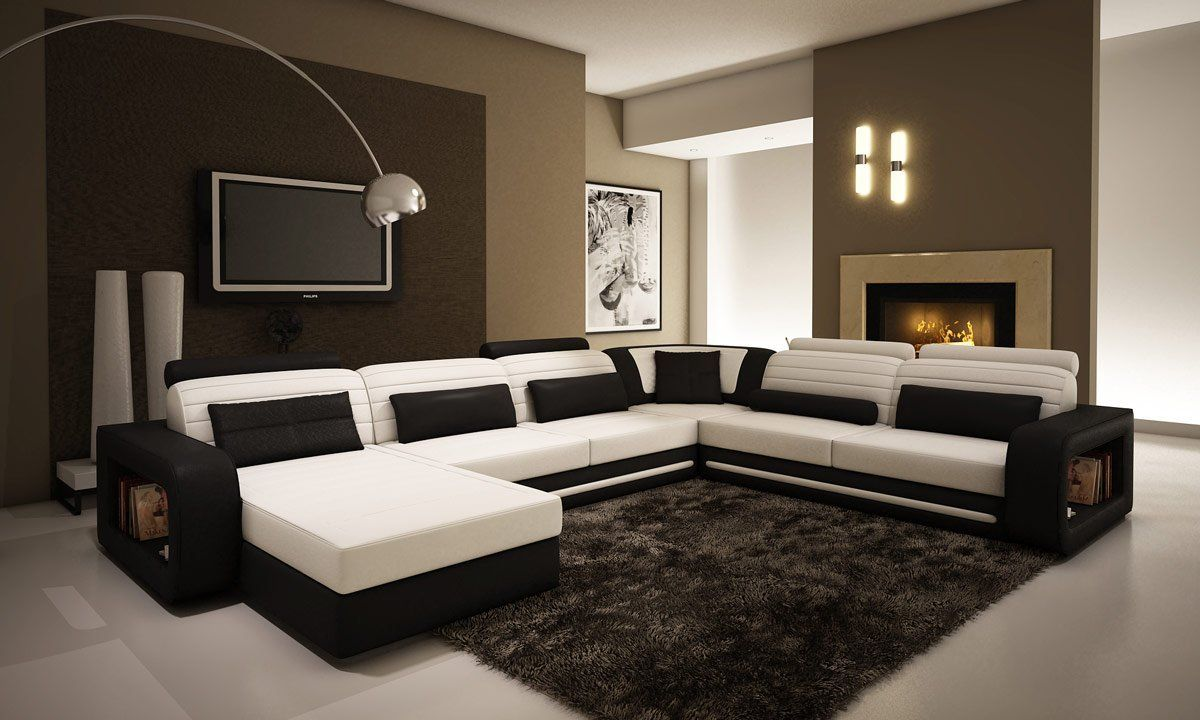 Ultra-Modern Cream and Black Leather Sectional Sofa | Living ...