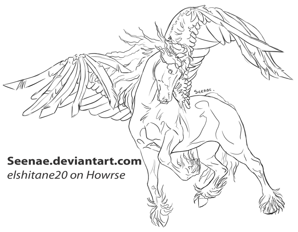 free lineart friesian pegasusseenaedeviantart on