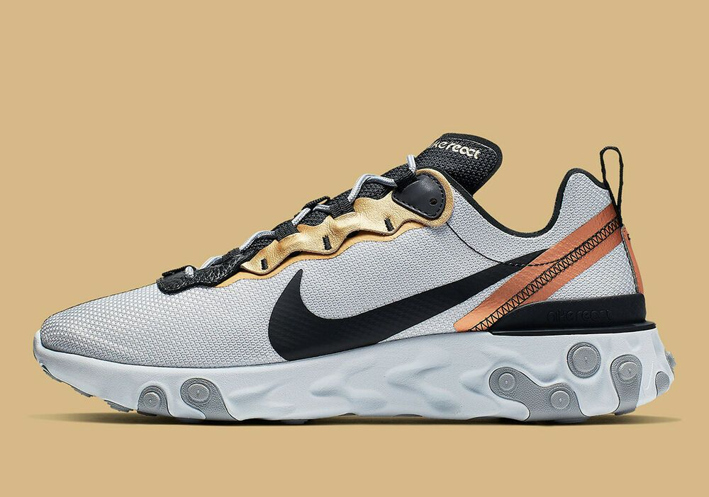 Nike React Element 55 Gold Ringer Pure Platinum Black CD7627