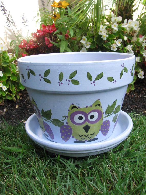 Owl Flower Pot | Clay pots crafts | Flower pots, Painted