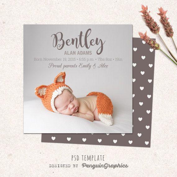 Birth announcement template card Digital baby girl / baby boy birth