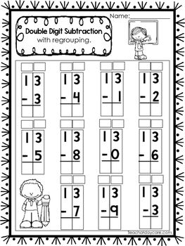 50 double digit subtraction with regrouping printable worksheets in a pdf file numbers 10 25. Black Bedroom Furniture Sets. Home Design Ideas