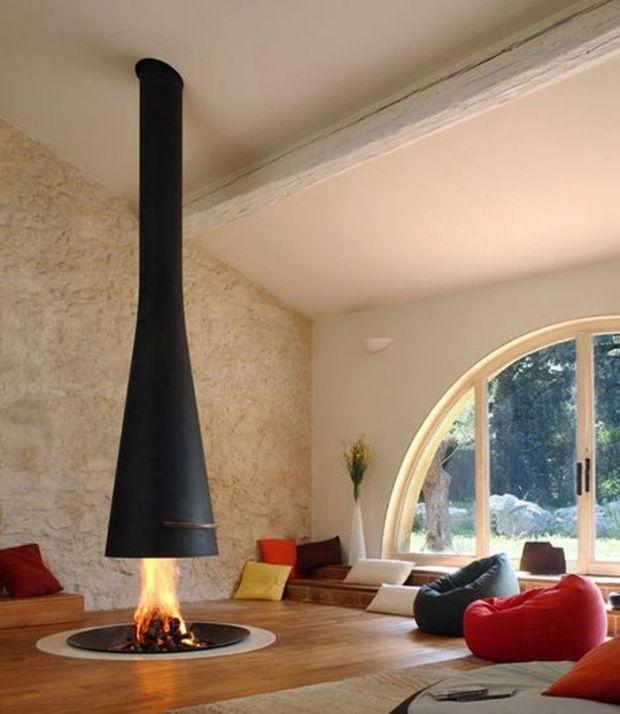 Designer Kamin kamin design skandinavisch zentral aufgehängt sitzbereich gemütlich
