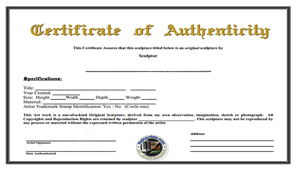 Fresh Certificate Of Authenticity Template In 2021 Photography Templates Lettering Templates